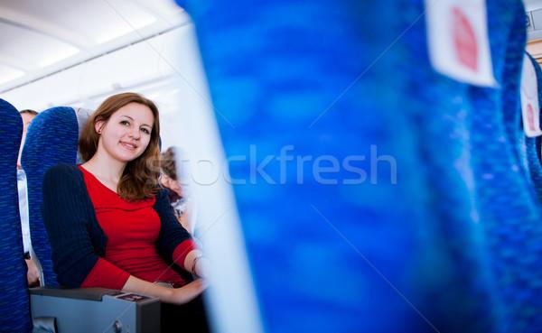 Bastante jóvenes femenino bordo aeronaves color Foto stock © lightpoet