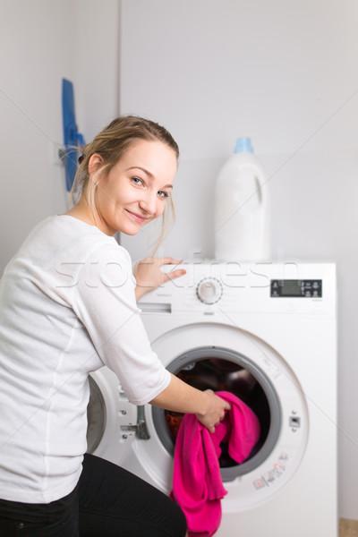 Tareas de la casa lavandería colorido lavadora Foto stock © lightpoet