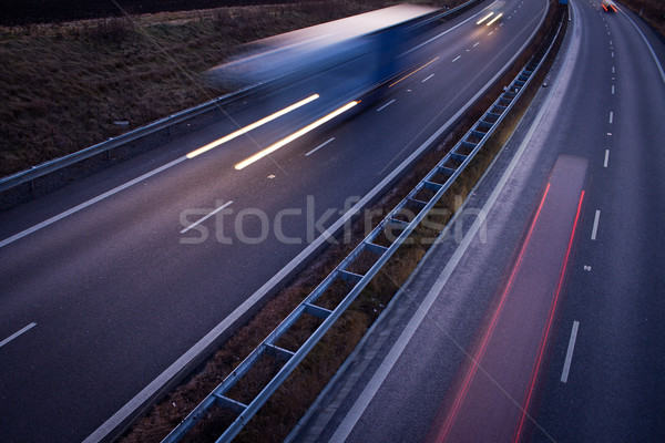 highway traffic - motion blurred truck on a highway/motorway/spe Stock photo © lightpoet