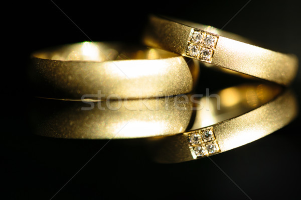 Wedding day details - two lovely golden wedding rings awaiting t Stock photo © lightpoet