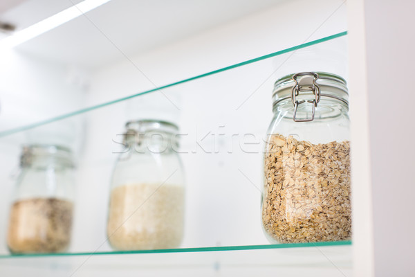 Oats in a jar in a modern kitchen Stock photo © lightpoet