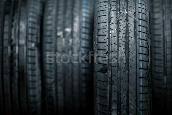 Stack of brand new high performance car tires  Stock photo © lightpoet