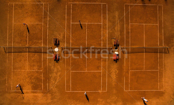 Aerial shot of a tennis courts with players Stock photo © lightpoet