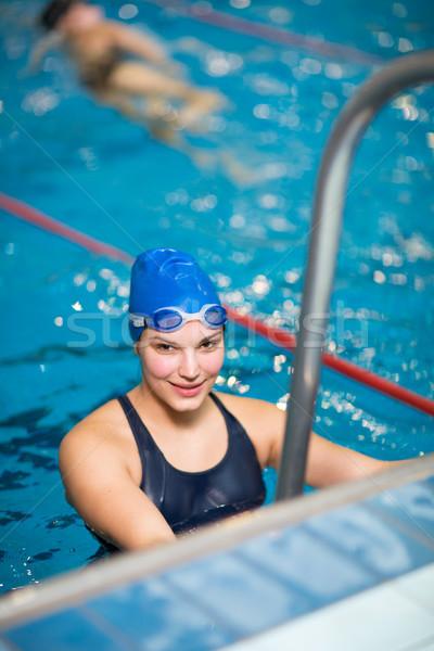 Femminile nuotatore piscina faccia salute Foto d'archivio © lightpoet