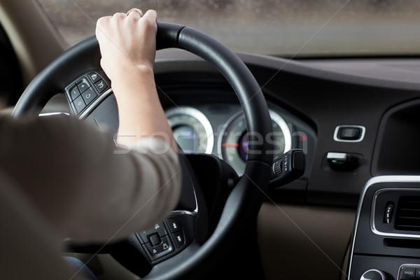Kadın sürücü araba mutlu yaz hızlandırmak Stok fotoğraf © lightpoet