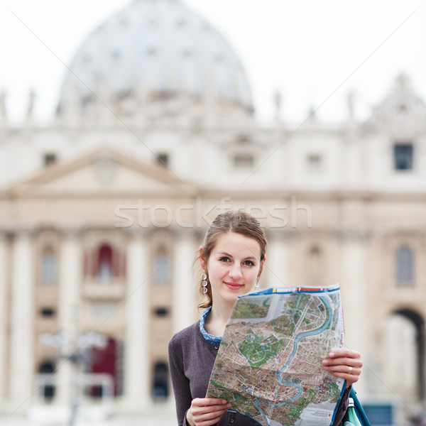 Photo stock: Joli · jeunes · Homme · touristiques · étudier · carte