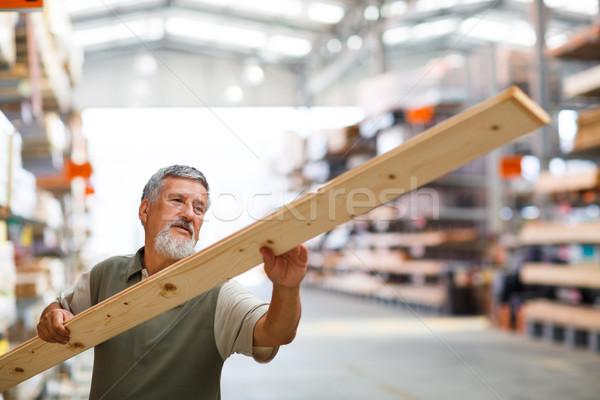 Man kopen bouw hout store Stockfoto © lightpoet
