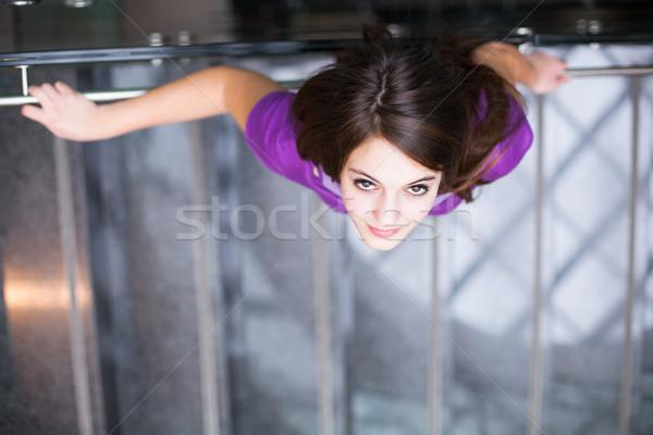 ストックフォト: 学生 · アップ · ダウン · 忙しい · 階段 · かなり
