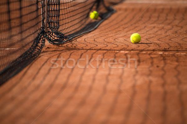Quadra de tênis tênis com esportes saúde Foto stock © lightpoet
