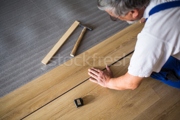 DIY, repair, building and home concept - close up of male hands  Stock photo © lightpoet