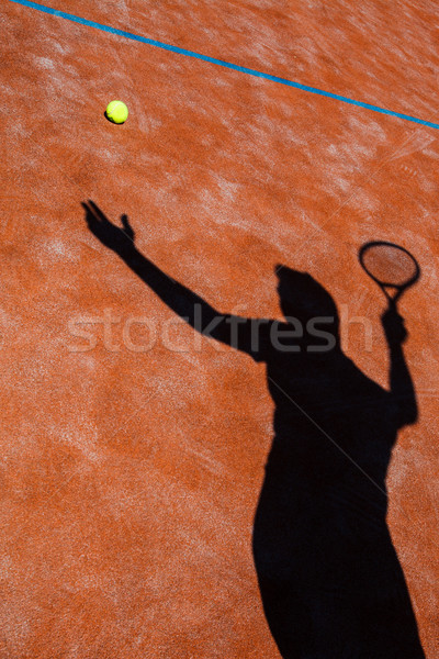 Foto d'archivio: Ombra · azione · campo · da · tennis · immagine · palla · da · tennis