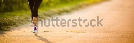 Részlet lábak női futó út law Stock fotó © lightpoet