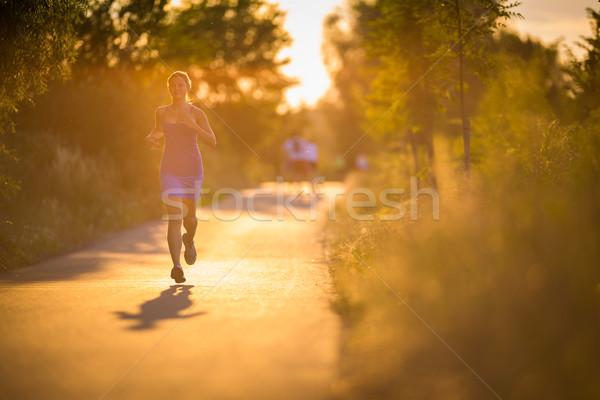 работает улице Солнечный лет вечер Сток-фото © lightpoet