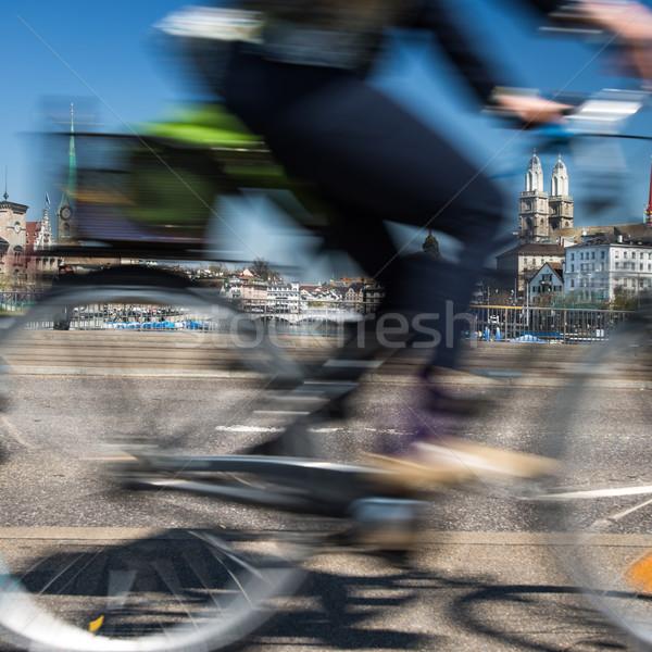 Zürih Cityscape hareket bulanık şehir trafik Stok fotoğraf © lightpoet