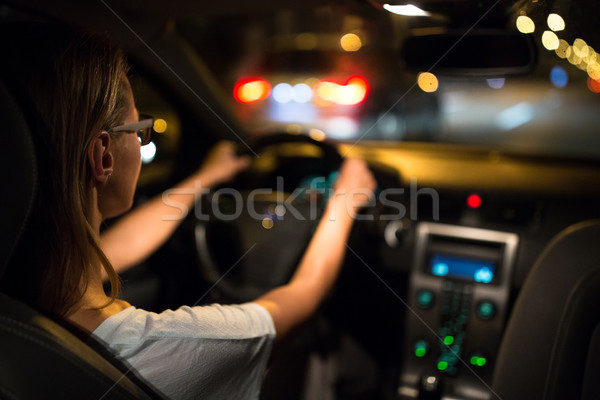 Driving a car at night Stock photo © lightpoet