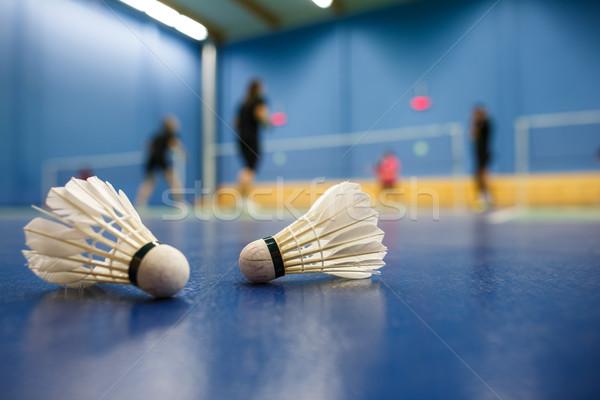 Badminton gracze pierwszy plan płytki Zdjęcia stock © lightpoet