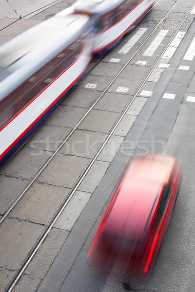 urban traffic concept - city street with a crossing, rail, motio Stock photo © lightpoet