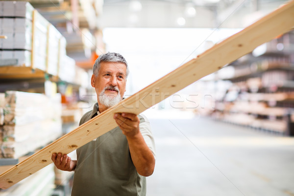 Man buying construction wood in a  DIY store Stock photo © lightpoet