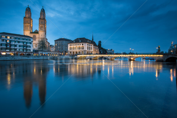 Zurich, Switzerland - nightview with Grossmunster church Stock photo © lightpoet