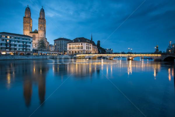 Zurich Suiza iglesia cielo casa puesta de sol Foto stock © lightpoet