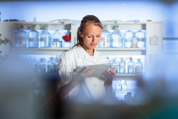 Portrait of a female researcher doing research in a biochemistry Stock photo © lightpoet