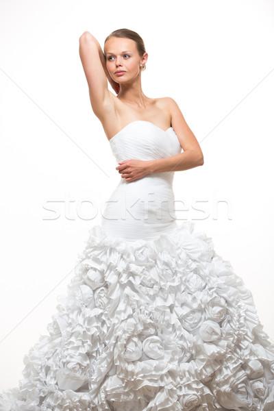 Káprázatos menyasszony esküvői ruha fehér mosoly buli Stock fotó © lightpoet