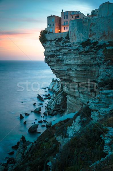 Pôr do sol cidade velha calcário penhasco sul costa Foto stock © lightpoet