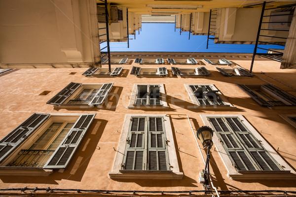 Evler büyük pencereler korsika kapı pencere Stok fotoğraf © lightpoet