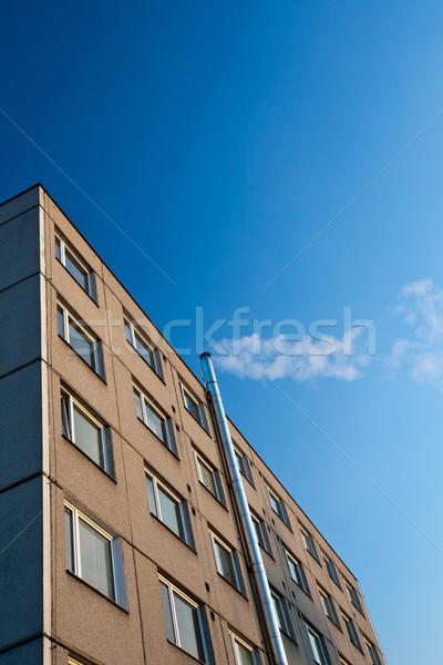 外に 煙突 アパート 加熱 冬 青空 ストックフォト © lightpoet