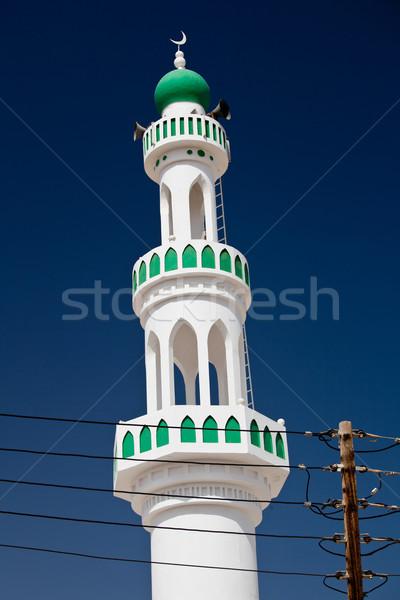 Fehér mecset minaret kék ég Omán nap Stock fotó © lightpoet