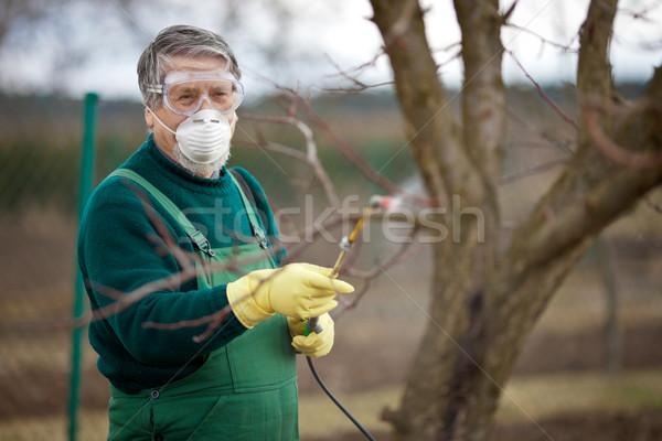 Kimyasallar bahçıvan gübre meyve bahar Stok fotoğraf © lightpoet