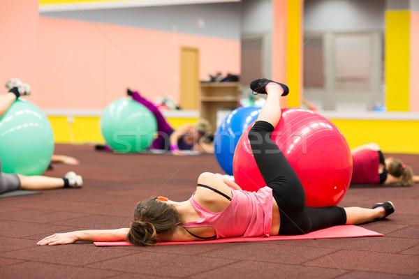 Persone gruppo pilates classe palestra fitness Foto d'archivio © lightpoet