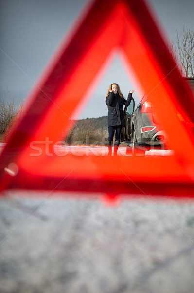 Realy angry young woman in a road distress situation  Stock photo © lightpoet