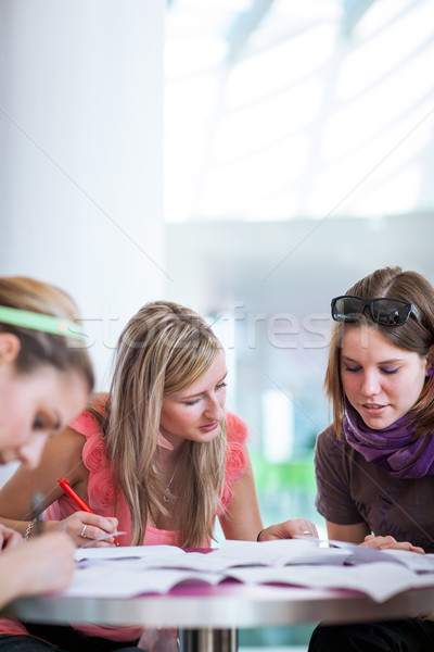 Stock photo: Group of college/university students during a brake