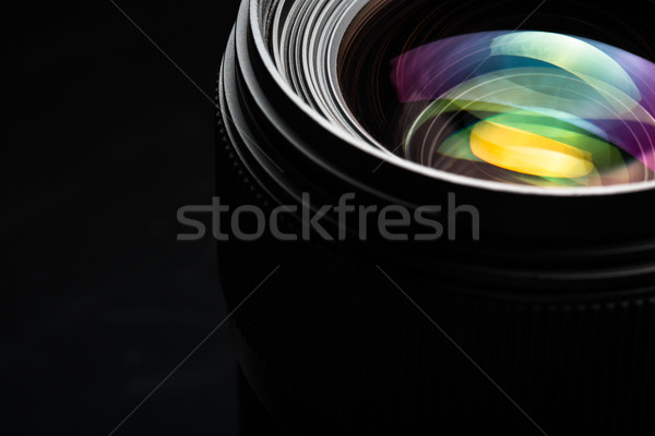 Professional modern DSLR camera llense ow key image Stock photo © lightpoet