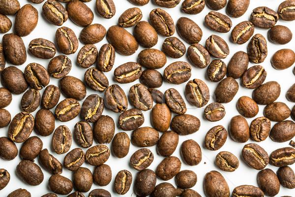 Stok fotoğraf: Kahve · çekirdekleri · yalıtılmış · beyaz · kahve · çerçeve · uzay