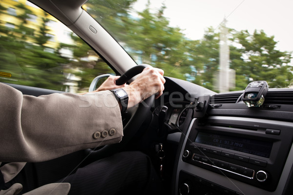 Driving a car (motion blur is used to convey movement) Stock photo © lightpoet