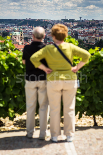 Couple of elderly tourists admiring the view of Prague  Stock photo © lightpoet