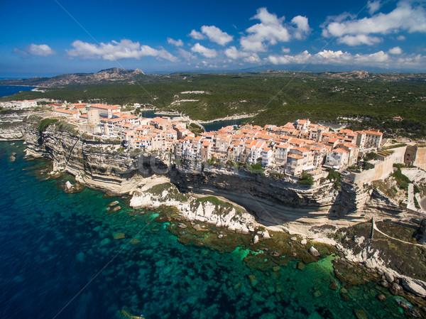 Luchtfoto oude binnenstad kalksteen klif zuiden kust Stockfoto © lightpoet