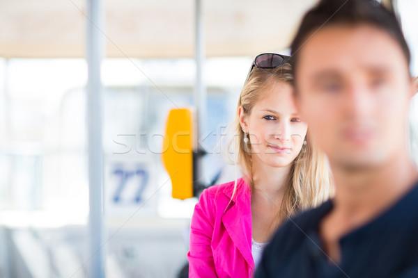 Mooie jonge vrouw werk kleur afbeelding ondiep Stockfoto © lightpoet