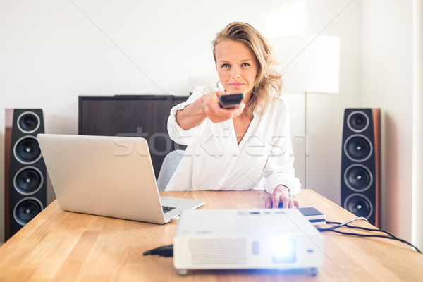 Pretty, female freelancer working from home Stock photo © lightpoet