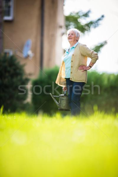 Senior vrouw tuinieren tuin planten Stockfoto © lightpoet