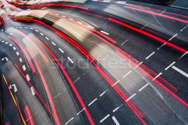 Motion blurred city road traffic  Stock photo © lightpoet