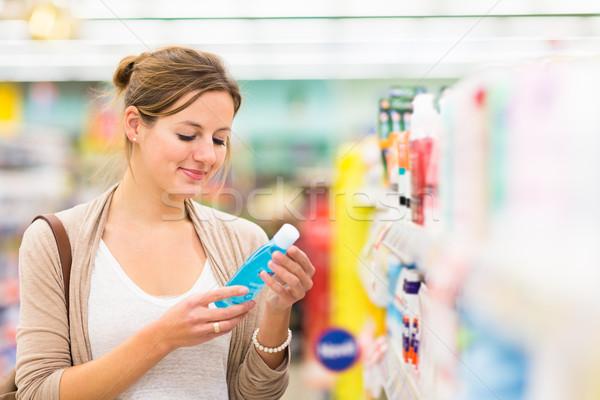 Stockfoto: Mooie · jonge · vrouw · winkelen · cosmetica · kruidenier