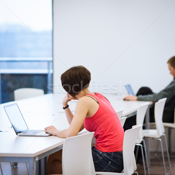 Pretty young college student studying in the library/a study roo Stock photo © lightpoet