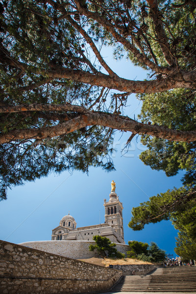 Widoku la bazylika Marseille południowy Francja Zdjęcia stock © lightpoet