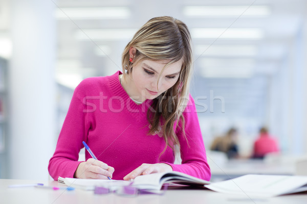 in the library - pretty, female student with laptop and books wo Stock photo © lightpoet