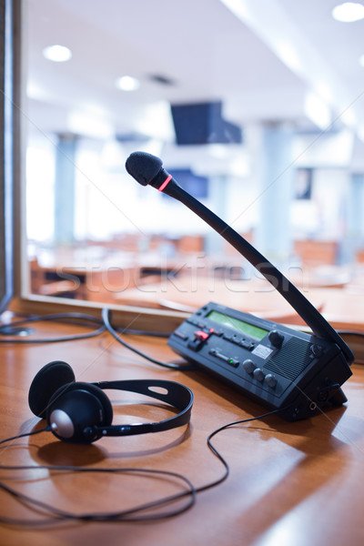 Stock photo: interpreting - Microphone and switchboard in an simultaneous int