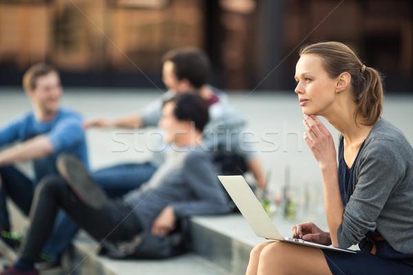 Portrait of a sleek young woman, using laptop computer Stock photo © lightpoet