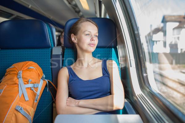Fiatal nő utazó vonat üzlet lány ablak Stock fotó © lightpoet